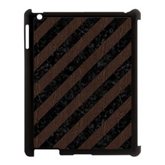 Stripes3 Black Marble & Dark Brown Wood (r) Apple Ipad 3/4 Case (black) by trendistuff