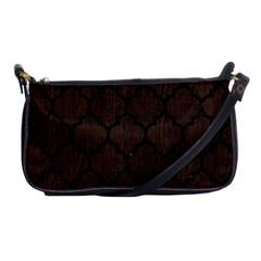 Tile1 Black Marble & Dark Brown Wood Shoulder Clutch Bags by trendistuff