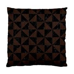 Triangle1 Black Marble & Dark Brown Wood Standard Cushion Case (one Side) by trendistuff