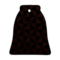 Triangle1 Black Marble & Dark Brown Wood Bell Ornament (two Sides) by trendistuff
