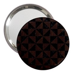Triangle1 Black Marble & Dark Brown Wood 3  Handbag Mirrors by trendistuff