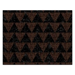 Triangle2 Black Marble & Dark Brown Wood Rectangular Jigsaw Puzzl by trendistuff