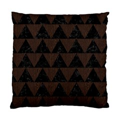 Triangle2 Black Marble & Dark Brown Wood Standard Cushion Case (one Side) by trendistuff
