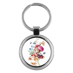 Fleur Vintage Floral Painting Key Chains (round)  by Celenk
