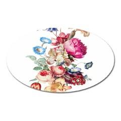 Fleur Vintage Floral Painting Oval Magnet by Celenk