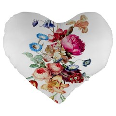 Fleur Vintage Floral Painting Large 19  Premium Heart Shape Cushions by Celenk
