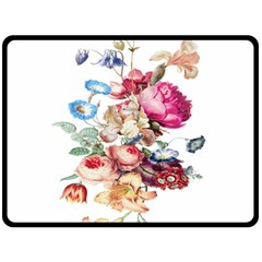 Fleur Vintage Floral Painting Double Sided Fleece Blanket (large)  by Celenk
