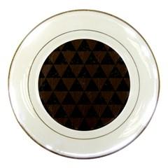 Triangle3 Black Marble & Dark Brown Wood Porcelain Plates by trendistuff