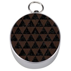 Triangle3 Black Marble & Dark Brown Wood Silver Compasses by trendistuff
