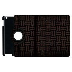 Woven1 Black Marble & Dark Brown Wood (r) Apple Ipad 3/4 Flip 360 Case by trendistuff