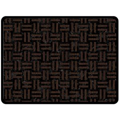 Woven1 Black Marble & Dark Brown Wood (r) Double Sided Fleece Blanket (large)  by trendistuff