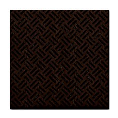 Woven2 Black Marble & Dark Brown Wood Tile Coasters by trendistuff