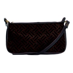 Woven2 Black Marble & Dark Brown Wood Shoulder Clutch Bags by trendistuff