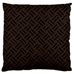 Woven2 Black Marble & Dark Brown Wood Large Cushion Case (two Sides) by trendistuff
