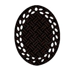 Woven2 Black Marble & Dark Brown Wood (r) Ornament (oval Filigree) by trendistuff