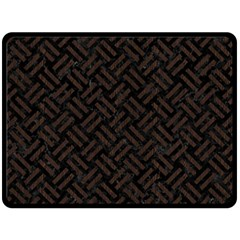 Woven2 Black Marble & Dark Brown Wood (r) Double Sided Fleece Blanket (large)  by trendistuff