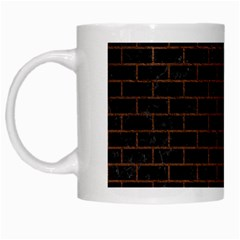 Brick1 Black Marble & Dull Brown Leather (r) White Mugs by trendistuff