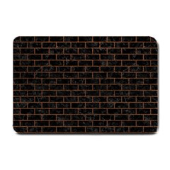 Brick1 Black Marble & Dull Brown Leather (r) Small Doormat  by trendistuff