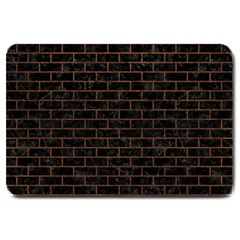 Brick1 Black Marble & Dull Brown Leather (r) Large Doormat  by trendistuff