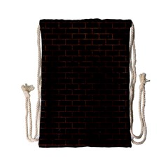 Brick1 Black Marble & Dull Brown Leather (r) Drawstring Bag (small) by trendistuff