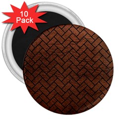 Brick2 Black Marble & Dull Brown Leather 3  Magnets (10 Pack)  by trendistuff