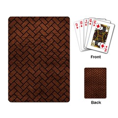 Brick2 Black Marble & Dull Brown Leather Playing Card by trendistuff