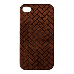 Brick2 Black Marble & Dull Brown Leather Apple Iphone 4/4s Premium Hardshell Case by trendistuff