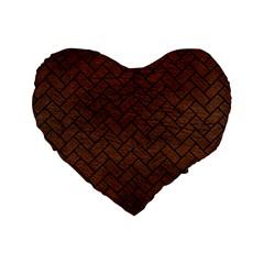 Brick2 Black Marble & Dull Brown Leather Standard 16  Premium Flano Heart Shape Cushions by trendistuff