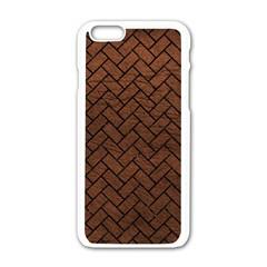 Brick2 Black Marble & Dull Brown Leather Apple Iphone 6/6s White Enamel Case by trendistuff