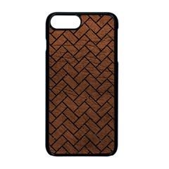 Brick2 Black Marble & Dull Brown Leather Apple Iphone 8 Plus Seamless Case (black) by trendistuff