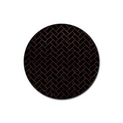 Brick2 Black Marble & Dull Brown Leather (r) Rubber Round Coaster (4 Pack)  by trendistuff