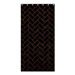 Brick2 Black Marble & Dull Brown Leather (r) Shower Curtain 36  X 72  (stall)  by trendistuff