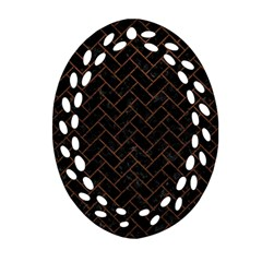 Brick2 Black Marble & Dull Brown Leather (r) Oval Filigree Ornament (two Sides) by trendistuff