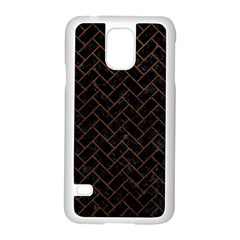 Brick2 Black Marble & Dull Brown Leather (r) Samsung Galaxy S5 Case (white) by trendistuff