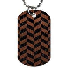 Chevron1 Black Marble & Dull Brown Leather Dog Tag (two Sides) by trendistuff