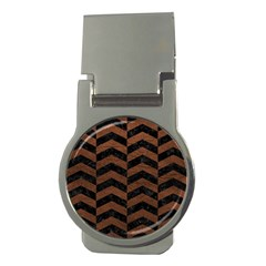 Chevron2 Black Marble & Dull Brown Leather Money Clips (round)  by trendistuff
