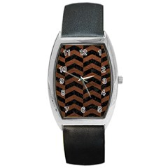 Chevron2 Black Marble & Dull Brown Leather Barrel Style Metal Watch