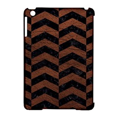 Chevron2 Black Marble & Dull Brown Leather Apple Ipad Mini Hardshell Case (compatible With Smart Cover) by trendistuff