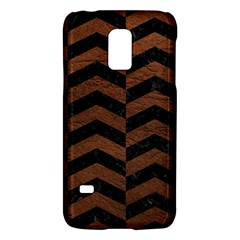 Chevron2 Black Marble & Dull Brown Leather Galaxy S5 Mini by trendistuff