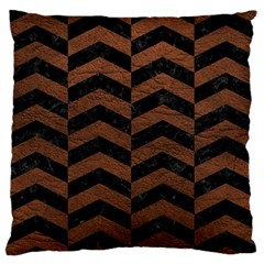 Chevron2 Black Marble & Dull Brown Leather Standard Flano Cushion Case (one Side) by trendistuff