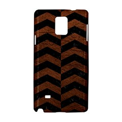 Chevron2 Black Marble & Dull Brown Leather Samsung Galaxy Note 4 Hardshell Case by trendistuff