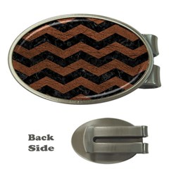 Chevron3 Black Marble & Dull Brown Leather Money Clips (oval)  by trendistuff
