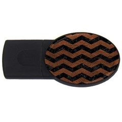 Chevron3 Black Marble & Dull Brown Leather Usb Flash Drive Oval (4 Gb) by trendistuff