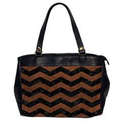 Chevron3 Black Marble & Dull Brown Leather Office Handbags (2 Sides)  by trendistuff