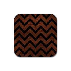 Chevron9 Black Marble & Dull Brown Leather Rubber Square Coaster (4 Pack)  by trendistuff