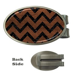 Chevron9 Black Marble & Dull Brown Leather Money Clips (oval)  by trendistuff
