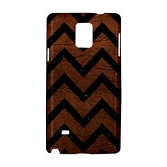 Chevron9 Black Marble & Dull Brown Leather Samsung Galaxy Note 4 Hardshell Case by trendistuff