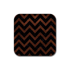 Chevron9 Black Marble & Dull Brown Leather (r) Rubber Coaster (square)  by trendistuff