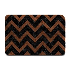 Chevron9 Black Marble & Dull Brown Leather (r) Plate Mats by trendistuff