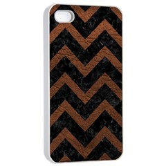 Chevron9 Black Marble & Dull Brown Leather (r) Apple Iphone 4/4s Seamless Case (white) by trendistuff